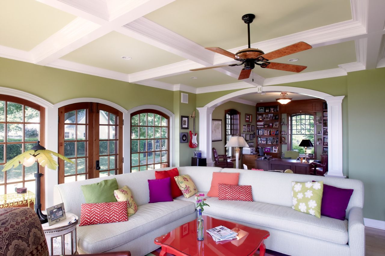 Sunroom with coffered ceilings